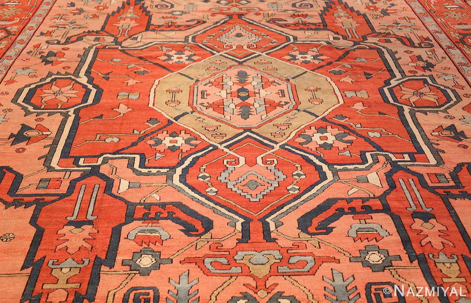 roomsize antique serapi persian rug 49326 field Nazmiyal