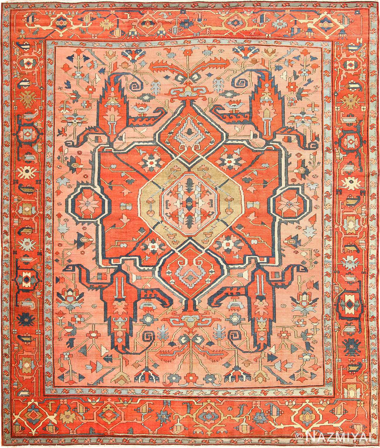 roomsize antique serapi persian rug 49326 Nazmiyal