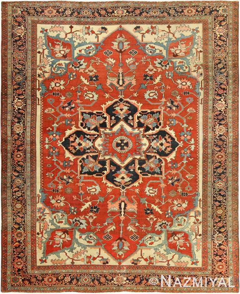 roomsize antique serapi persian rug 49350 Nazmiyal