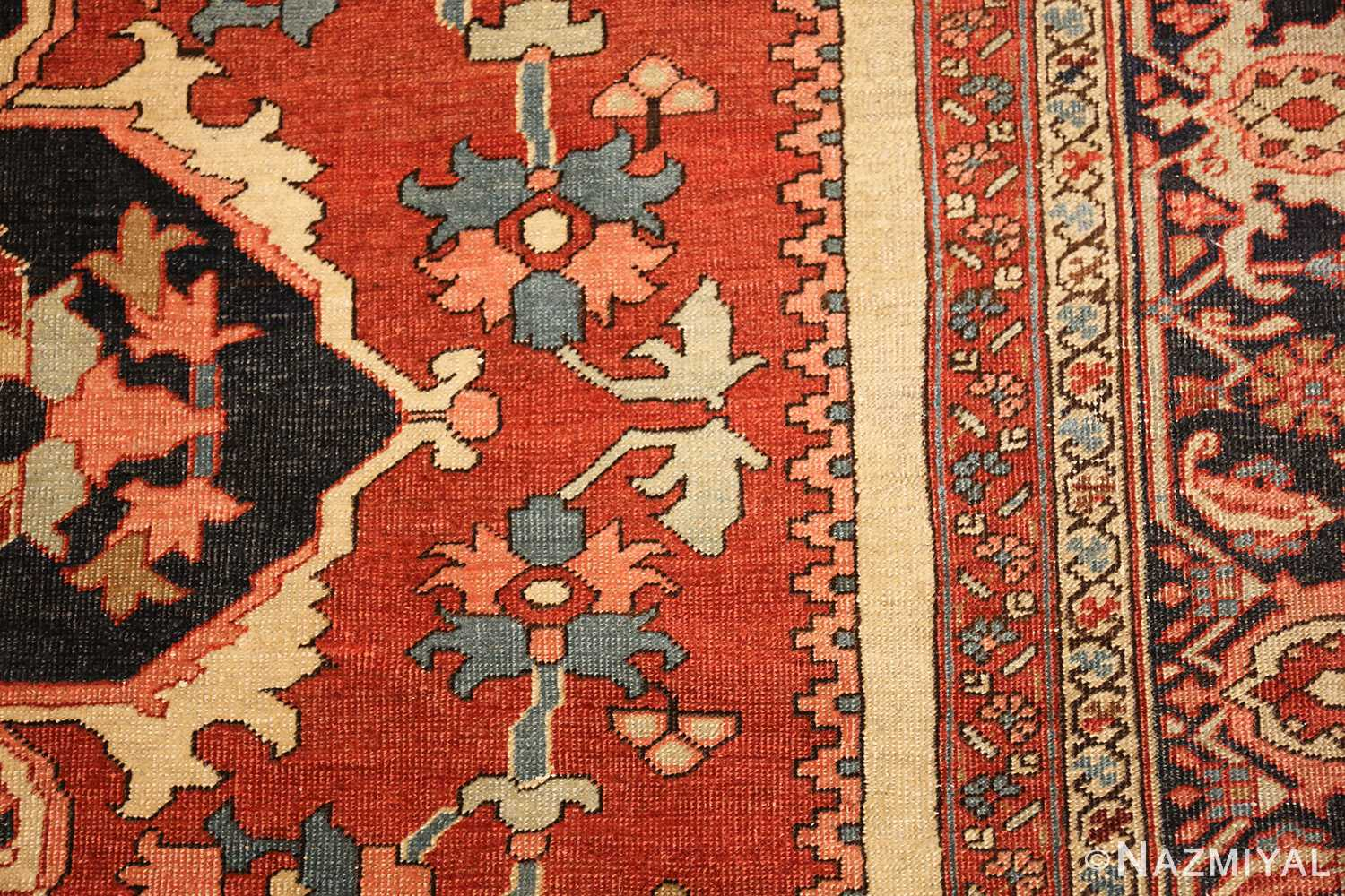 roomsize antique serapi persian rug 49350 flowers Nazmiyal