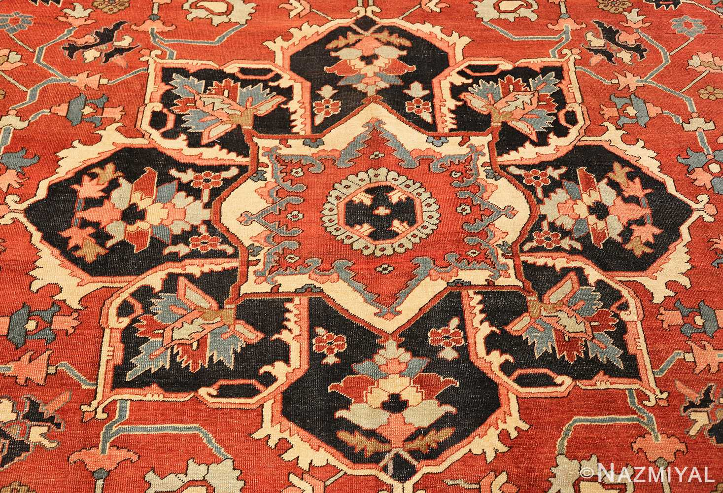 roomsize antique serapi persian rug 49350 medallion Nazmiyal