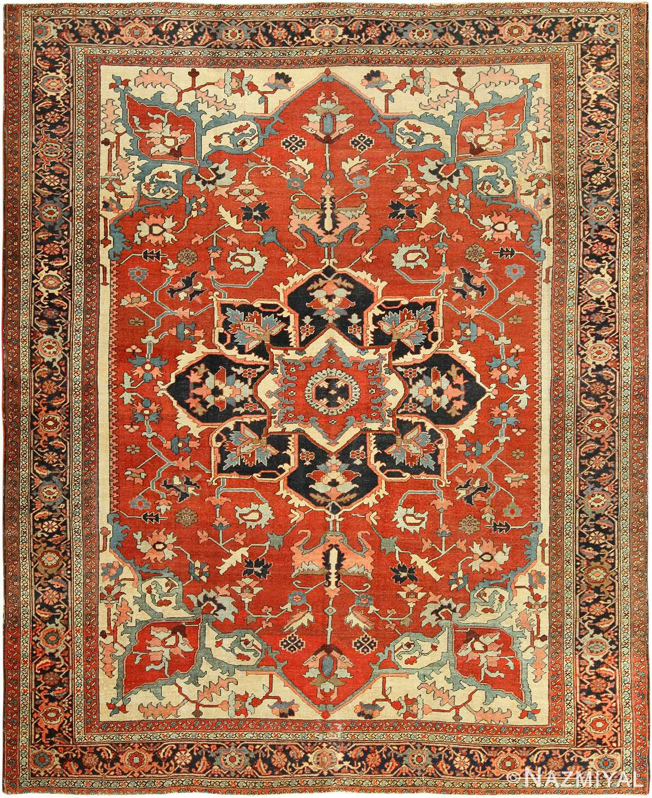 roomsize antique serapi persian rug 49350 Nazmiyal