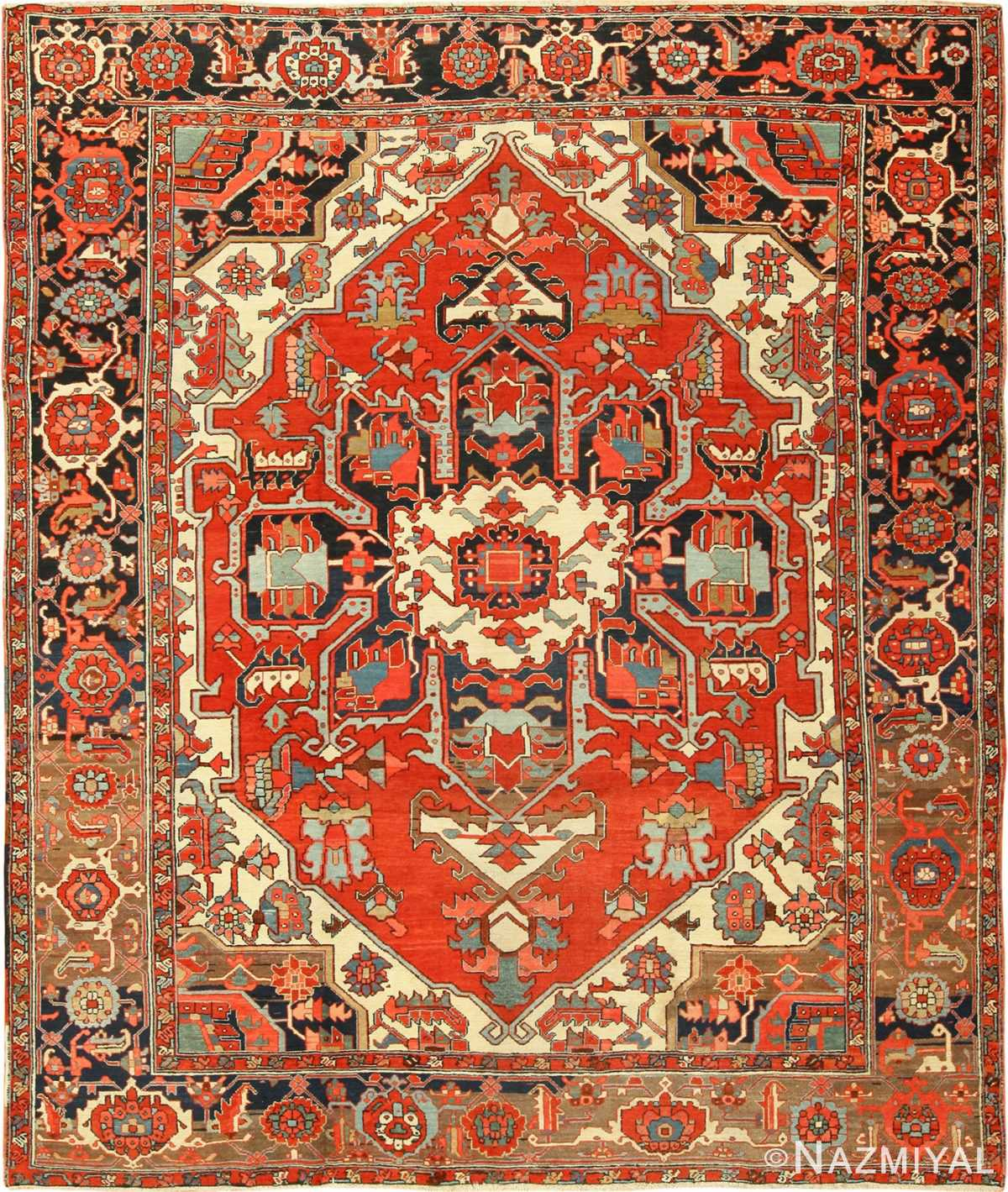 roomsize antique serapi persian rug 49359 Nazmiyal