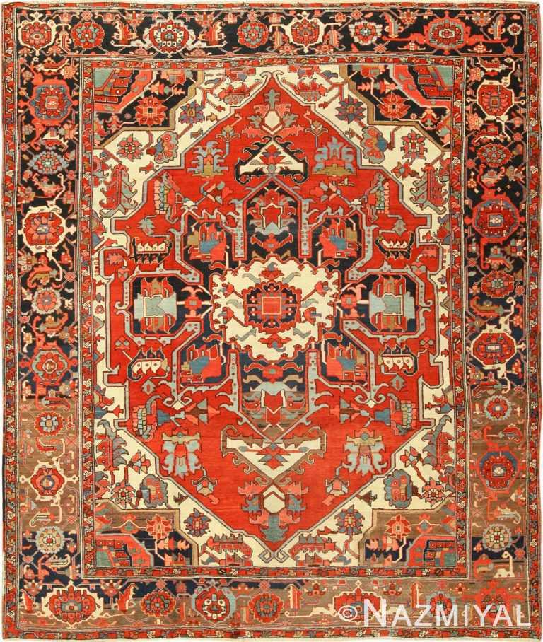 roomsize antique serapi persian rug 49359 Nazmiyal