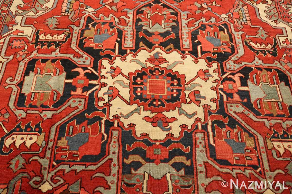 roomsize antique serapi persian rug 49359 medallion Nazmiyal
