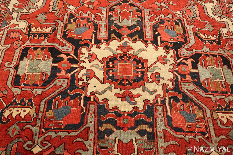 roomsize antique serapi persian rug 49359 medallion Nazmiyal