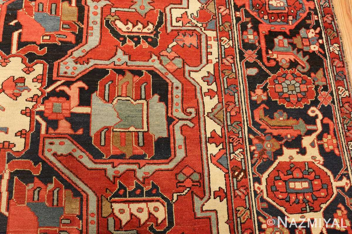 roomsize antique serapi persian rug 49359 pattern Nazmiyal