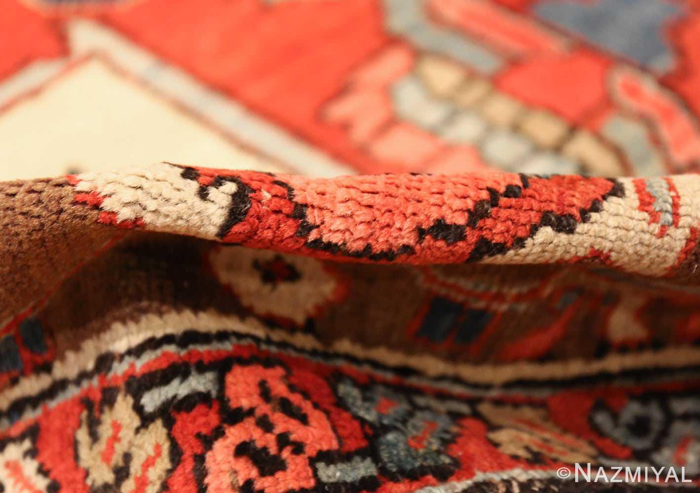 roomsize antique serapi persian rug 49359 pile Nazmiyal