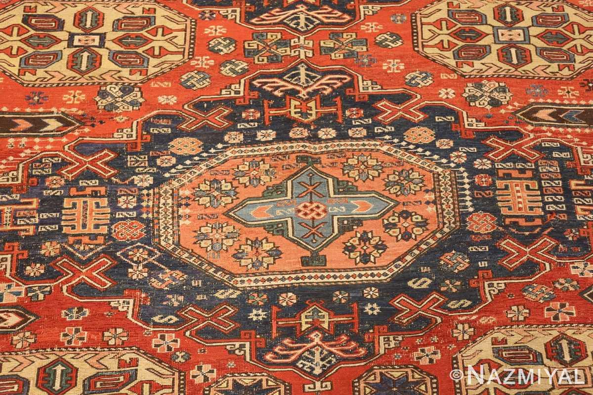 roomsize antique soumak caucasian rug 49340 medallion Nazmiyal