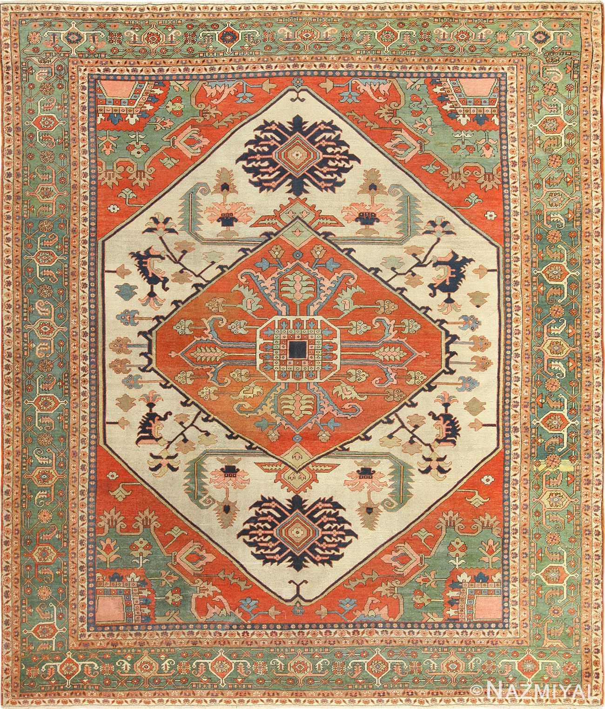 Vintage Persian Rugs: Beautiful Ivory Antique Serapi Persian Rug 49353 By Nazmiyal