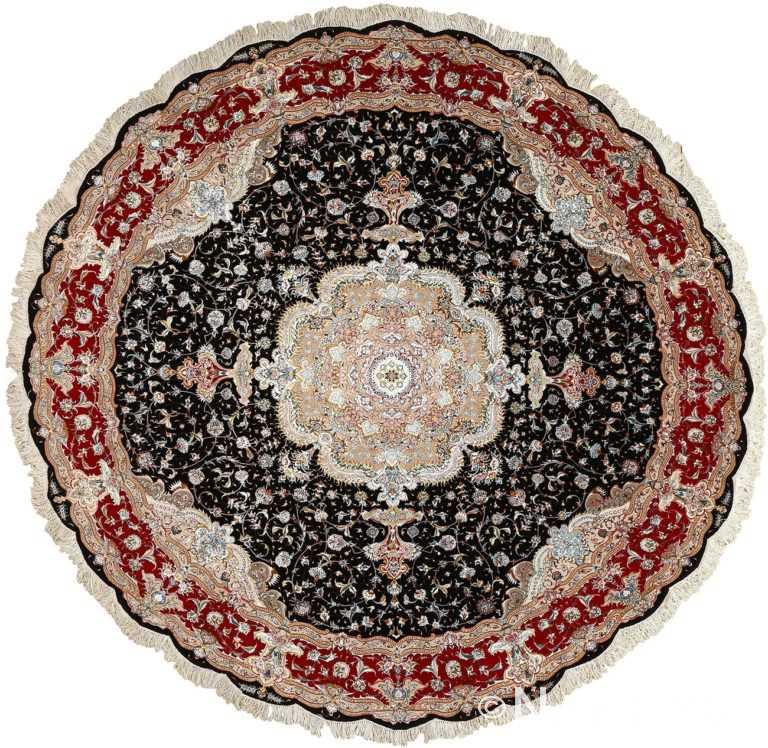 round black vintage tabriz persian rug 51136 Nazmiyal