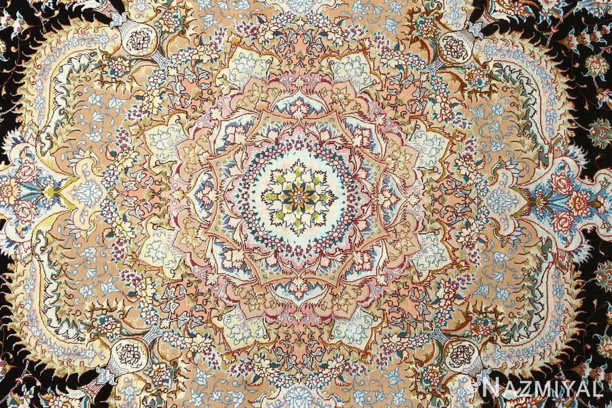 round black vintage tabriz persian rug 51136 medallion Nazmiyal