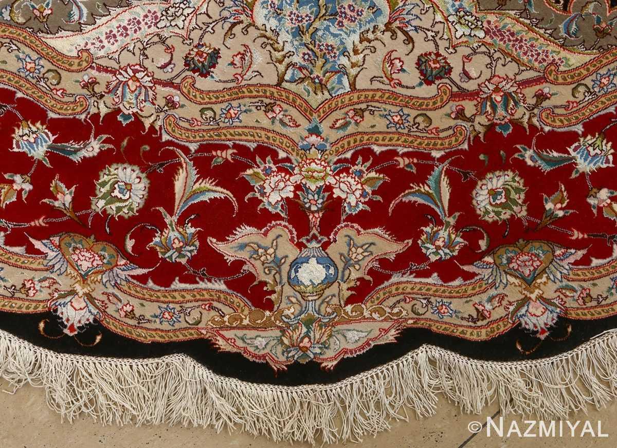 round black vintage tabriz persian rug 51136 vase Nazmiyal