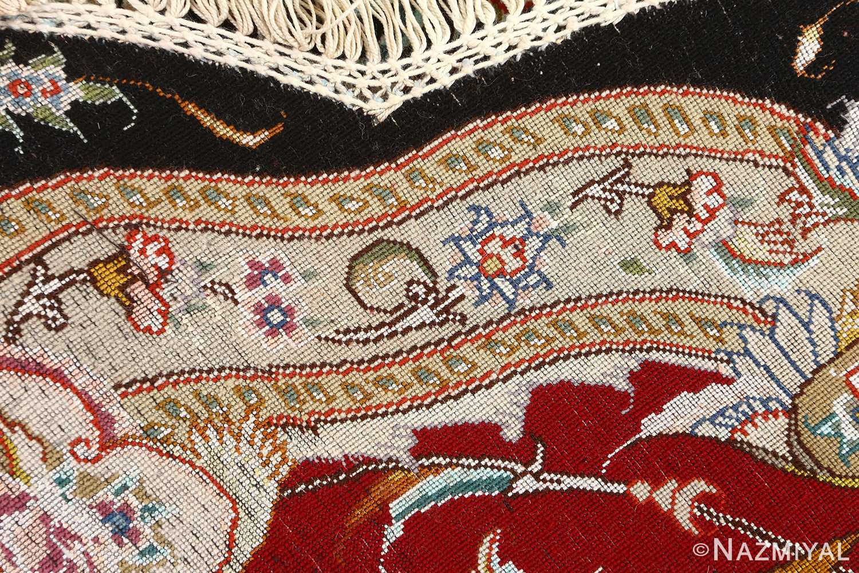 round black vintage tabriz persian rug 51136 weave Nazmiyal
