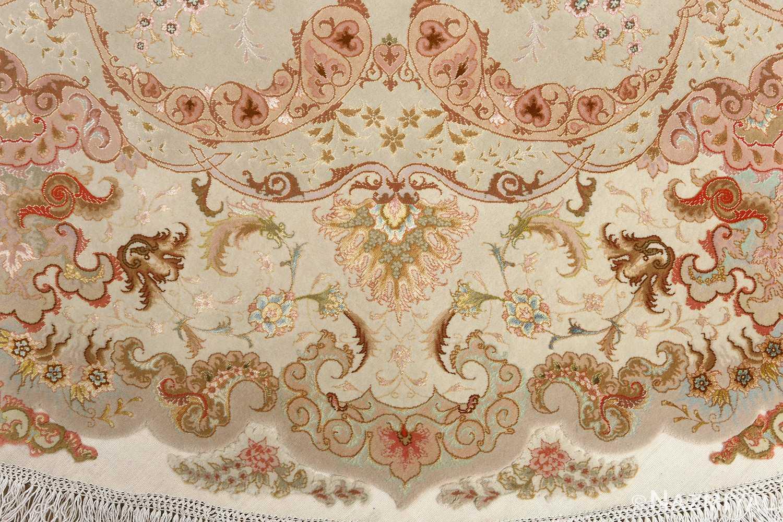 round fine vintage tabriz persian rug 51133 gold Nazmiyal