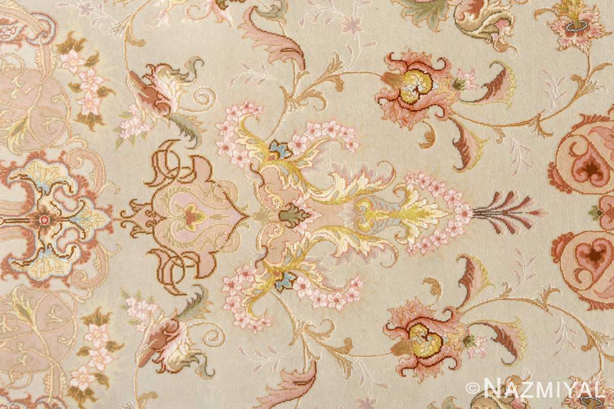 round fine vintage tabriz persian rug 51133 silk Nazmiyal