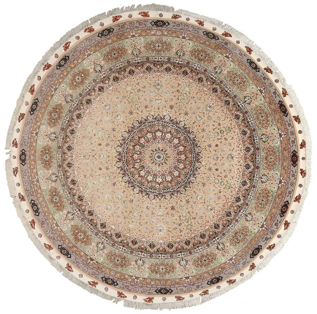 round shahsavarpour design vintage tabriz persian rug 51128 Nazmiyal