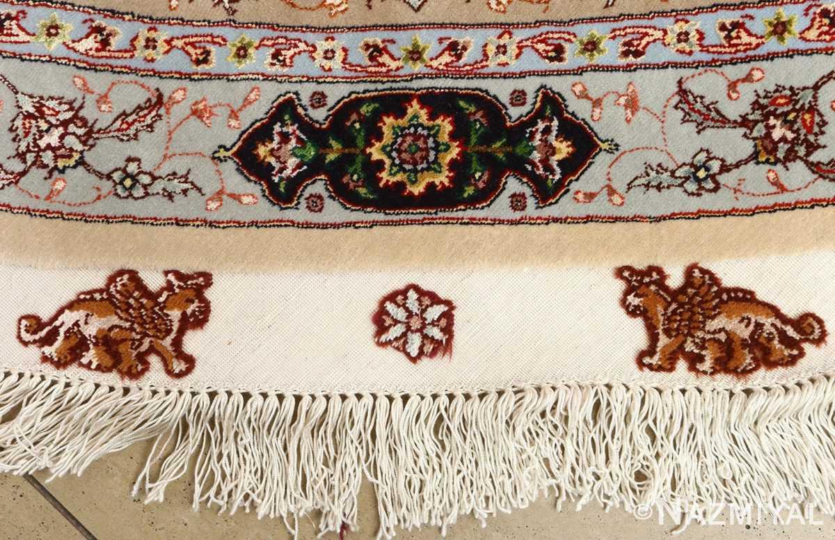 round shahsavarpour design vintage tabriz persian rug 51128 fringes Nazmiyal