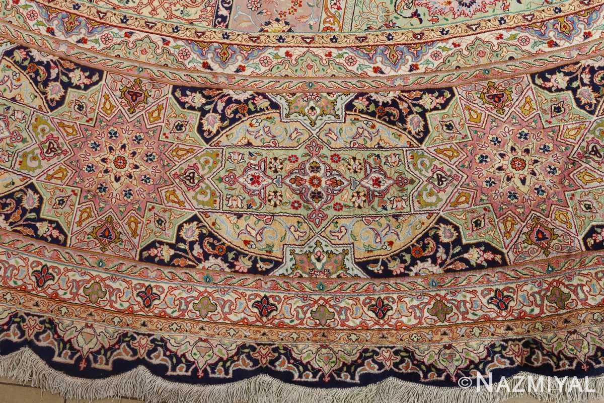 round silk vintage tabriz persian rug 51137 border Nazmiyal