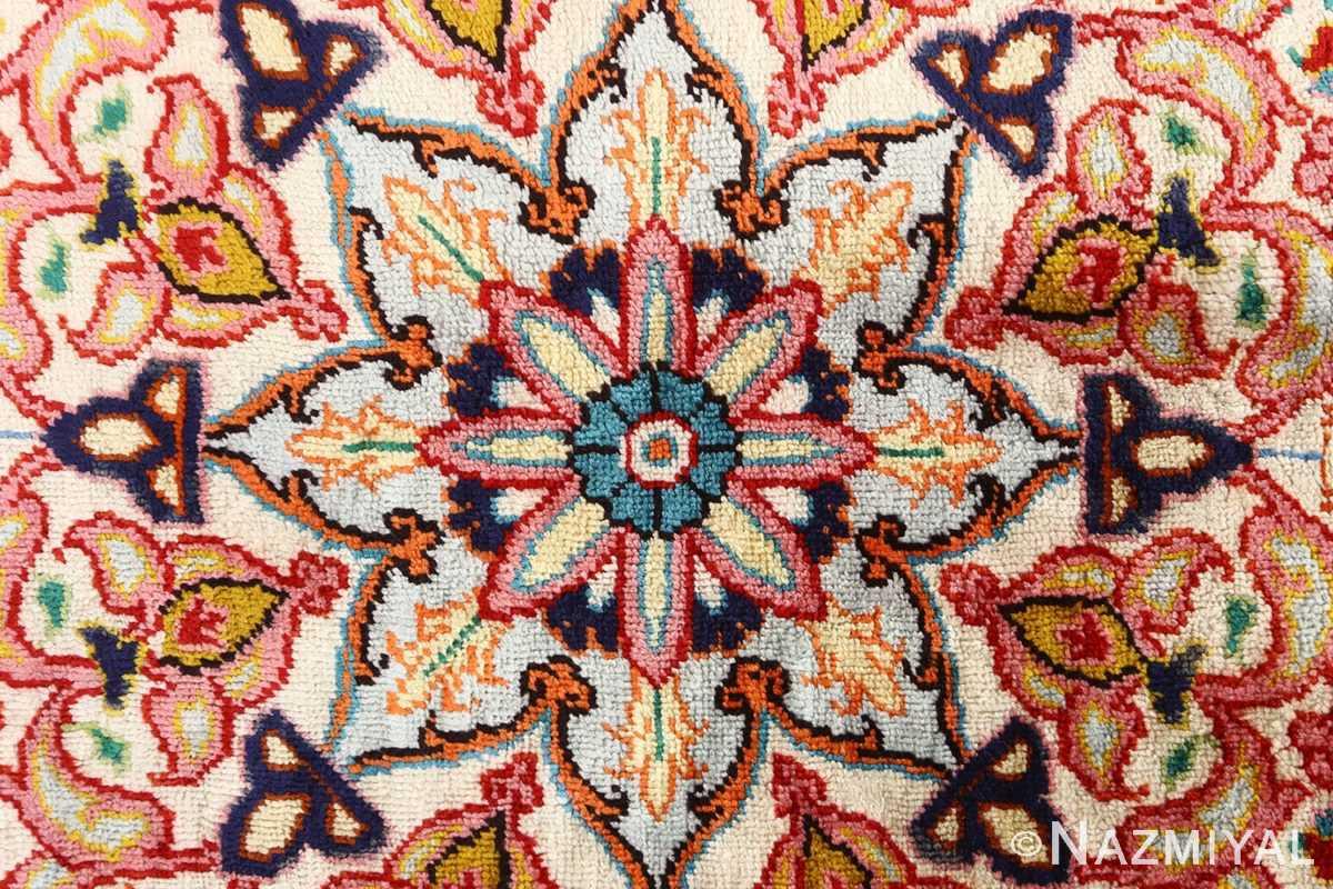 round silk vintage tabriz persian rug 51137 center Nazmiyal