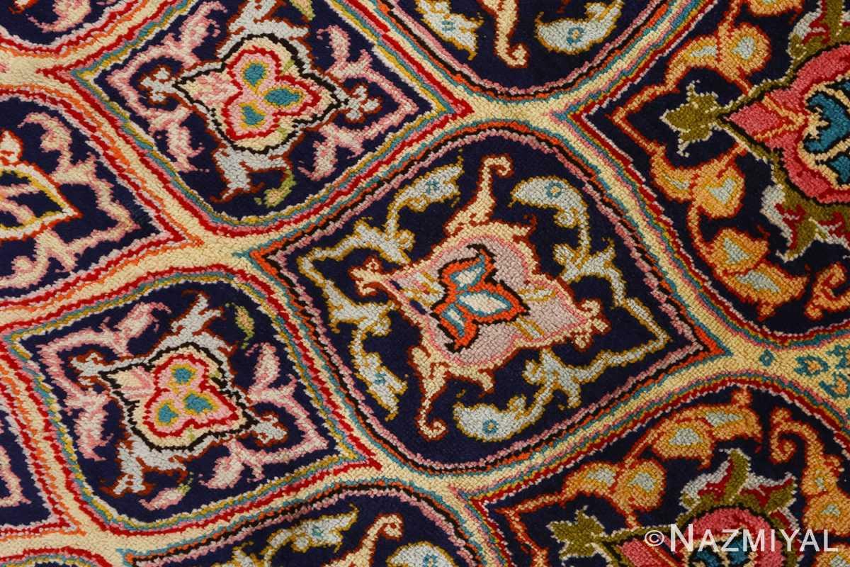 round silk vintage tabriz persian rug 51137 closeup Nazmiyal