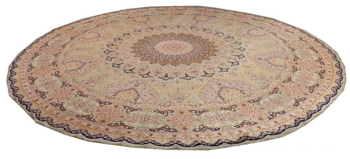 round silk vintage tabriz persian rug 51137 full Nazmiyal