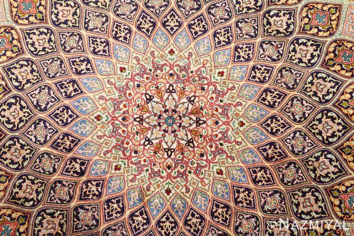 round silk vintage tabriz persian rug 51137 medallion Nazmiyal