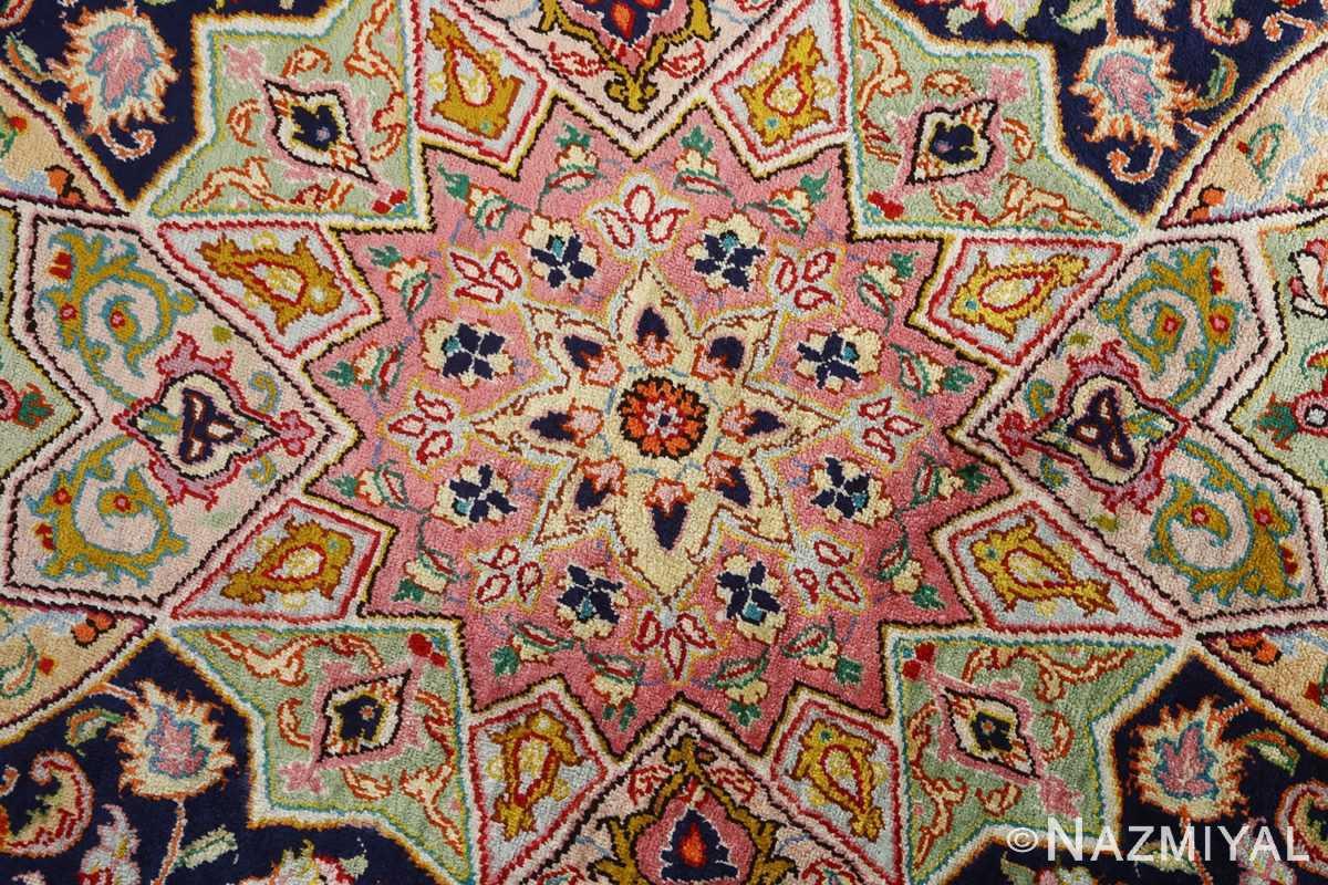 round silk vintage tabriz persian rug 51137 middle Nazmiyal