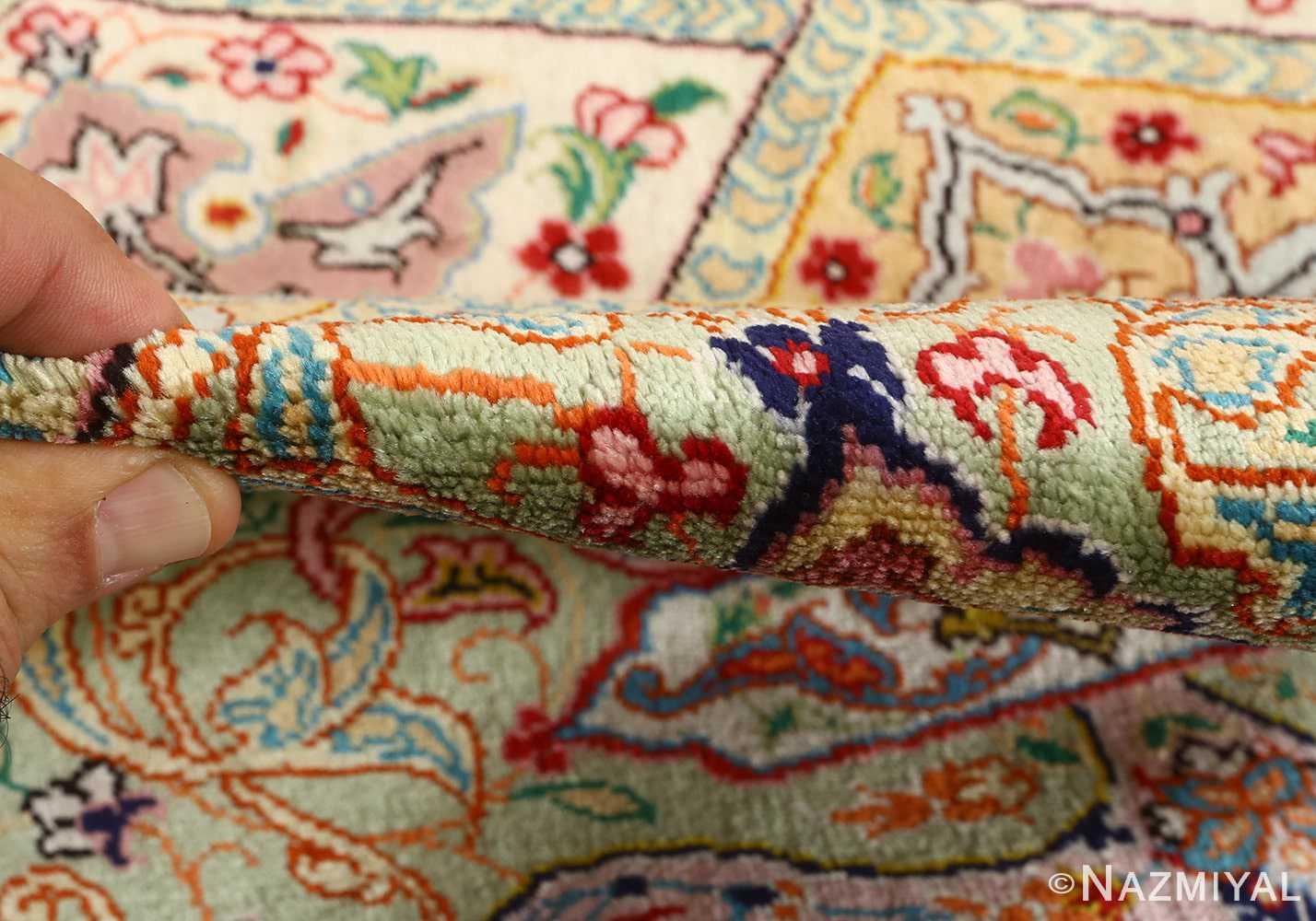 round silk vintage tabriz persian rug 51137 pile Nazmiyal