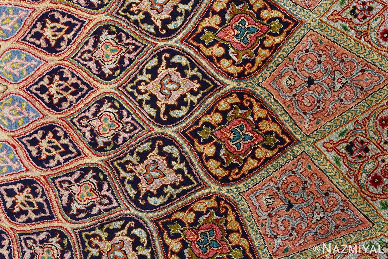round silk vintage tabriz persian rug 51137 slimi Nazmiyal