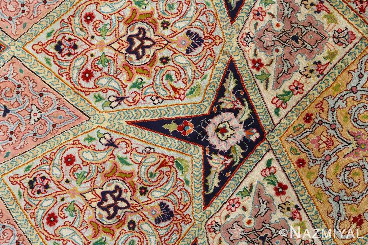 round silk vintage tabriz persian rug 51137 star Nazmiyal
