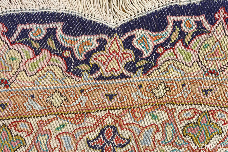round silk vintage tabriz persian rug 51137 weave Nazmiyal