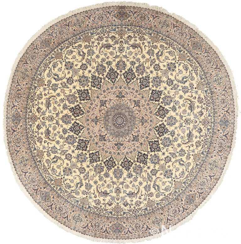 round vintage nain persian rug 51126 Nazmiyal
