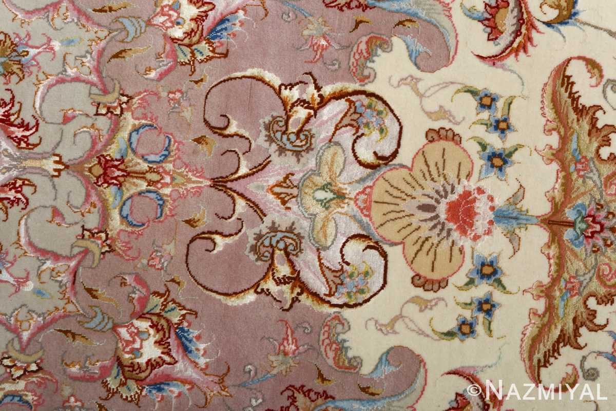 round vintage tabriz persian rug 51123 flower Nazmiyal