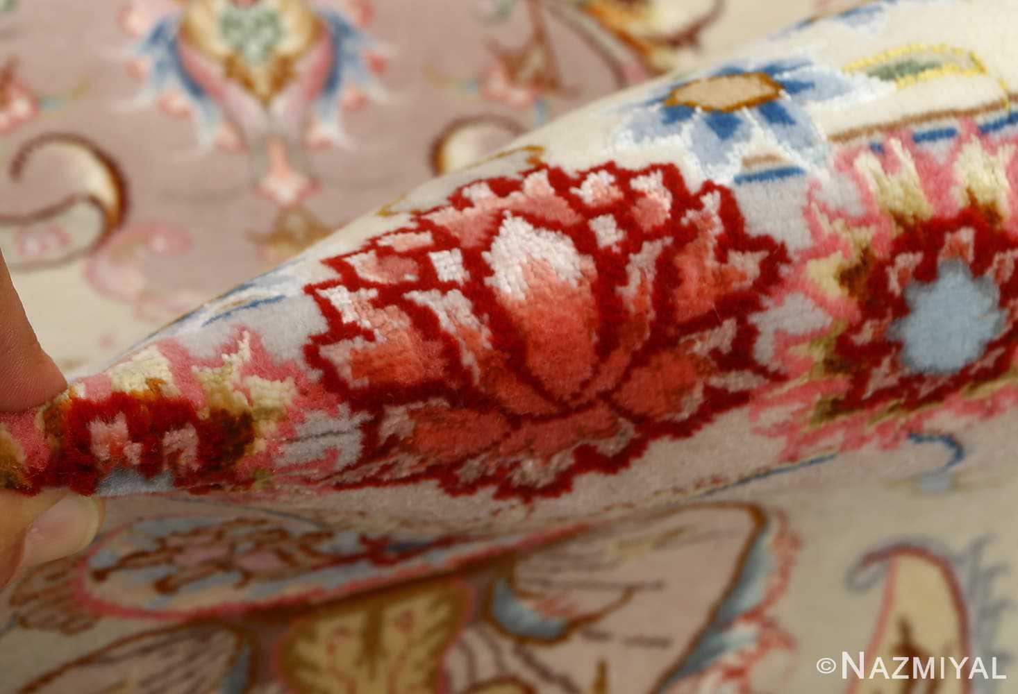 round vintage tabriz persian rug 51123 pile Nazmiyal