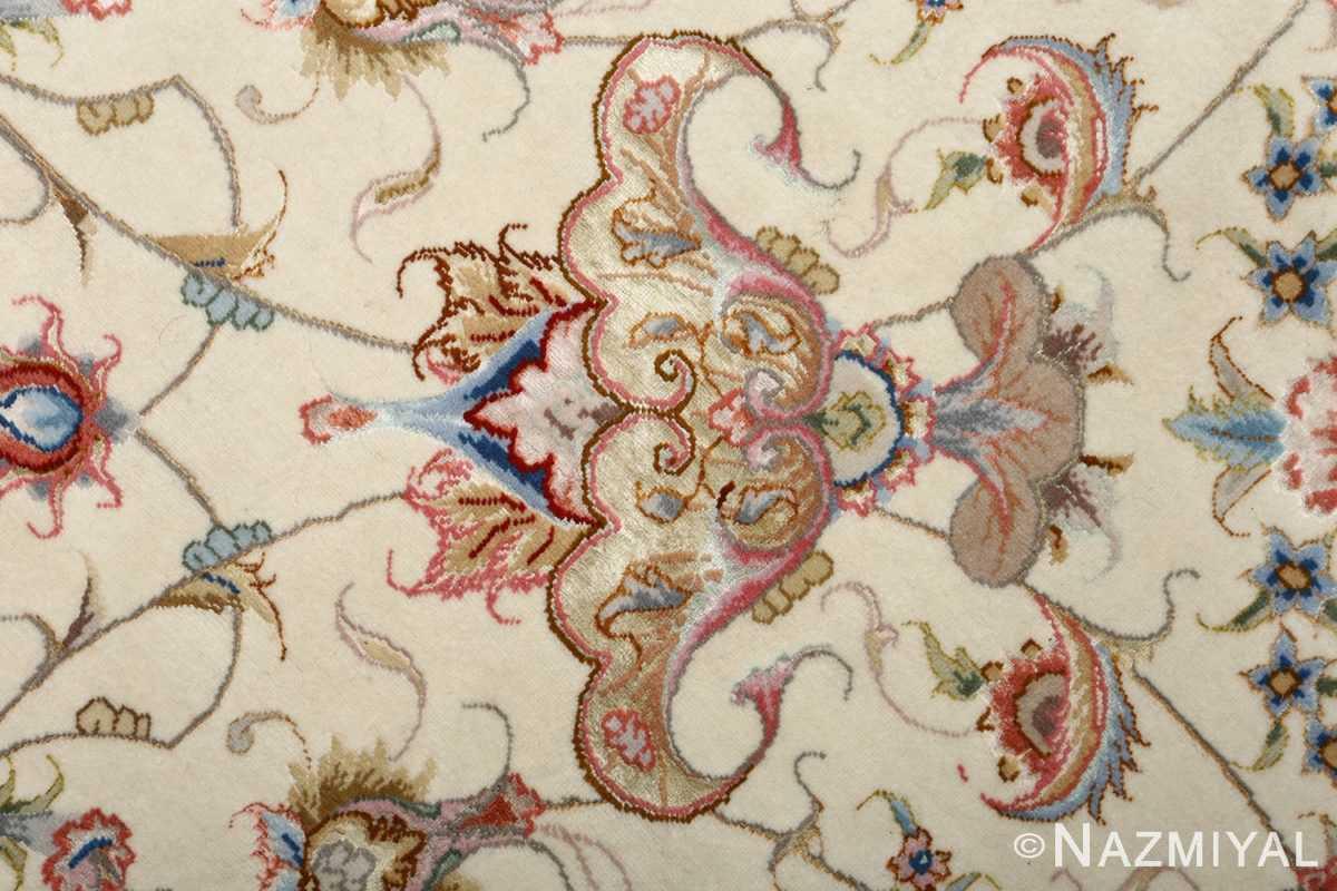 round vintage tabriz persian rug 51123 silk Nazmiyal