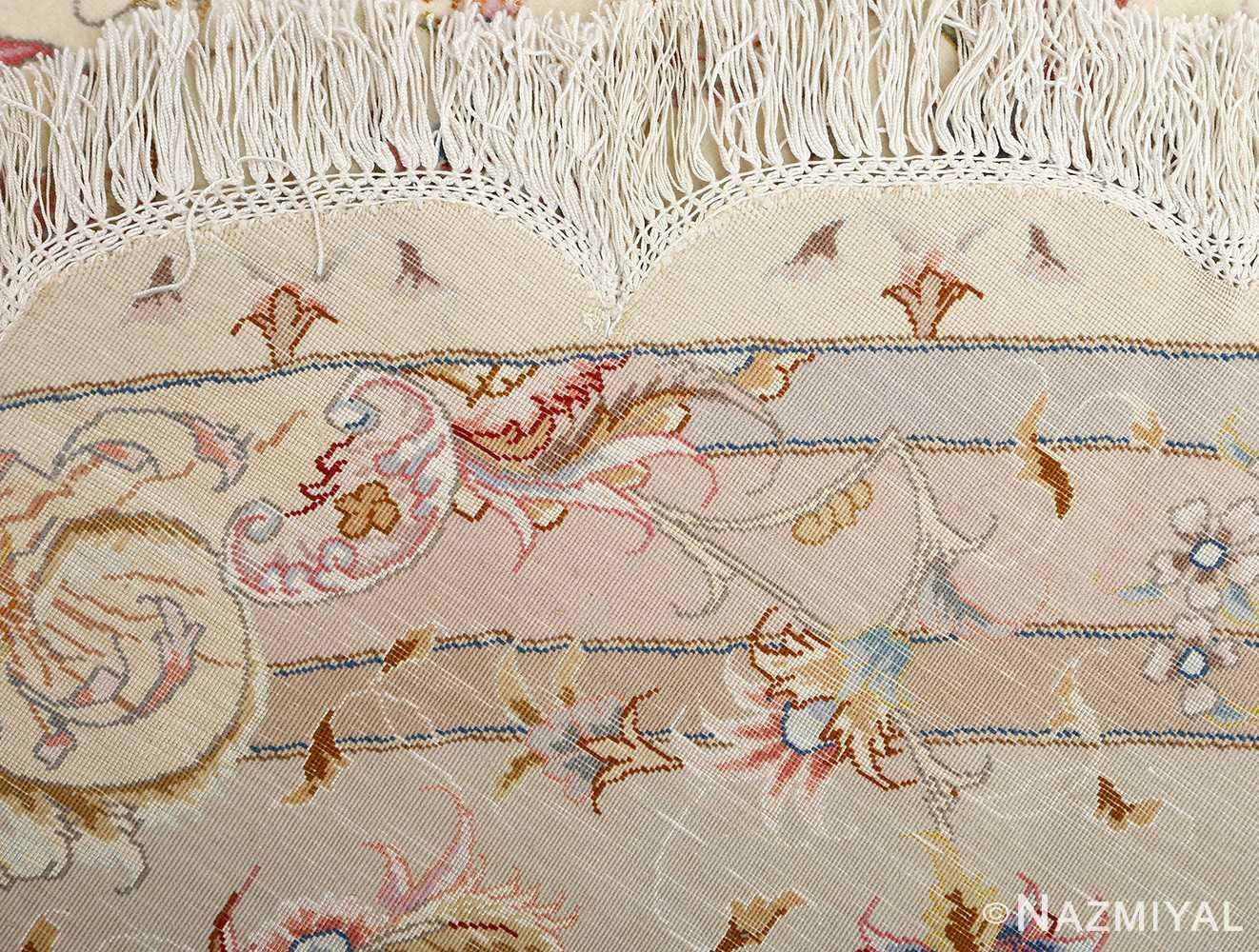 round vintage tabriz persian rug 51123 weave Nazmiyal