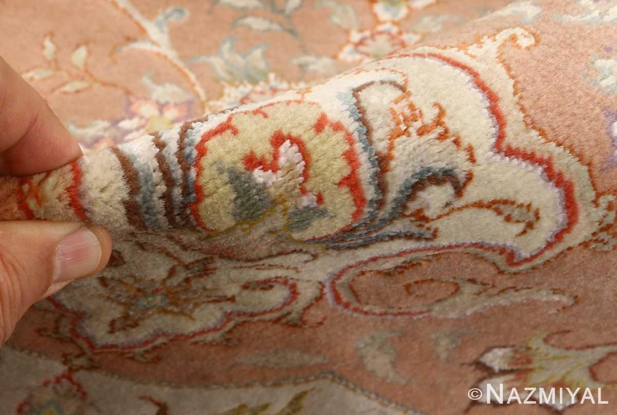 round vintage tabriz persian rug 51134 pile Nazmiyal