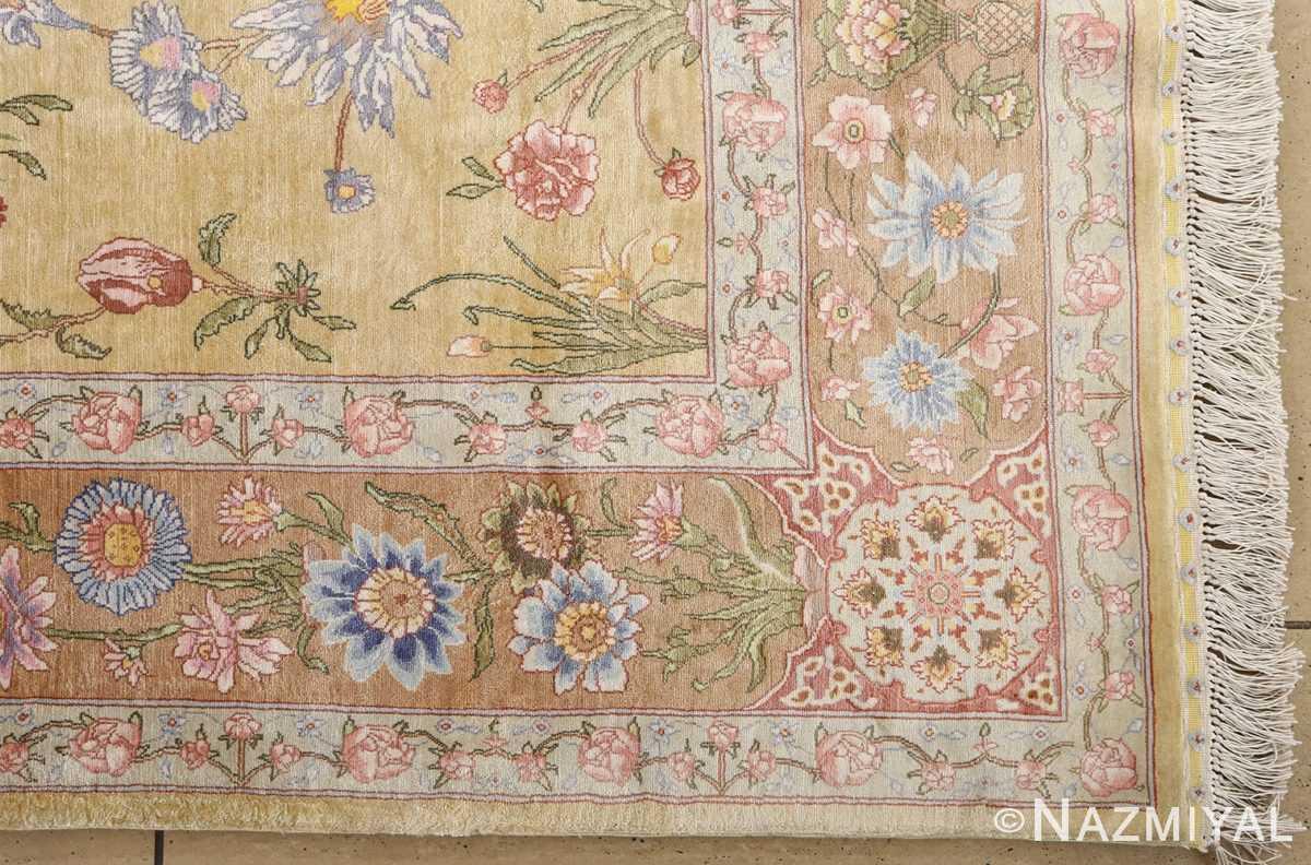 silk shahsavarpour design vintage tabriz persian rug 51162 corner Nazmiyal