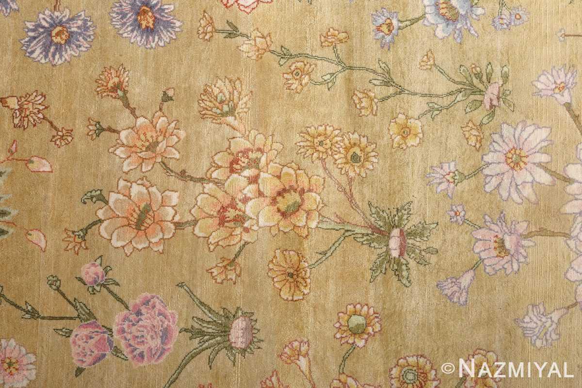 silk shahsavarpour design vintage tabriz persian rug 51162 field Nazmiyal