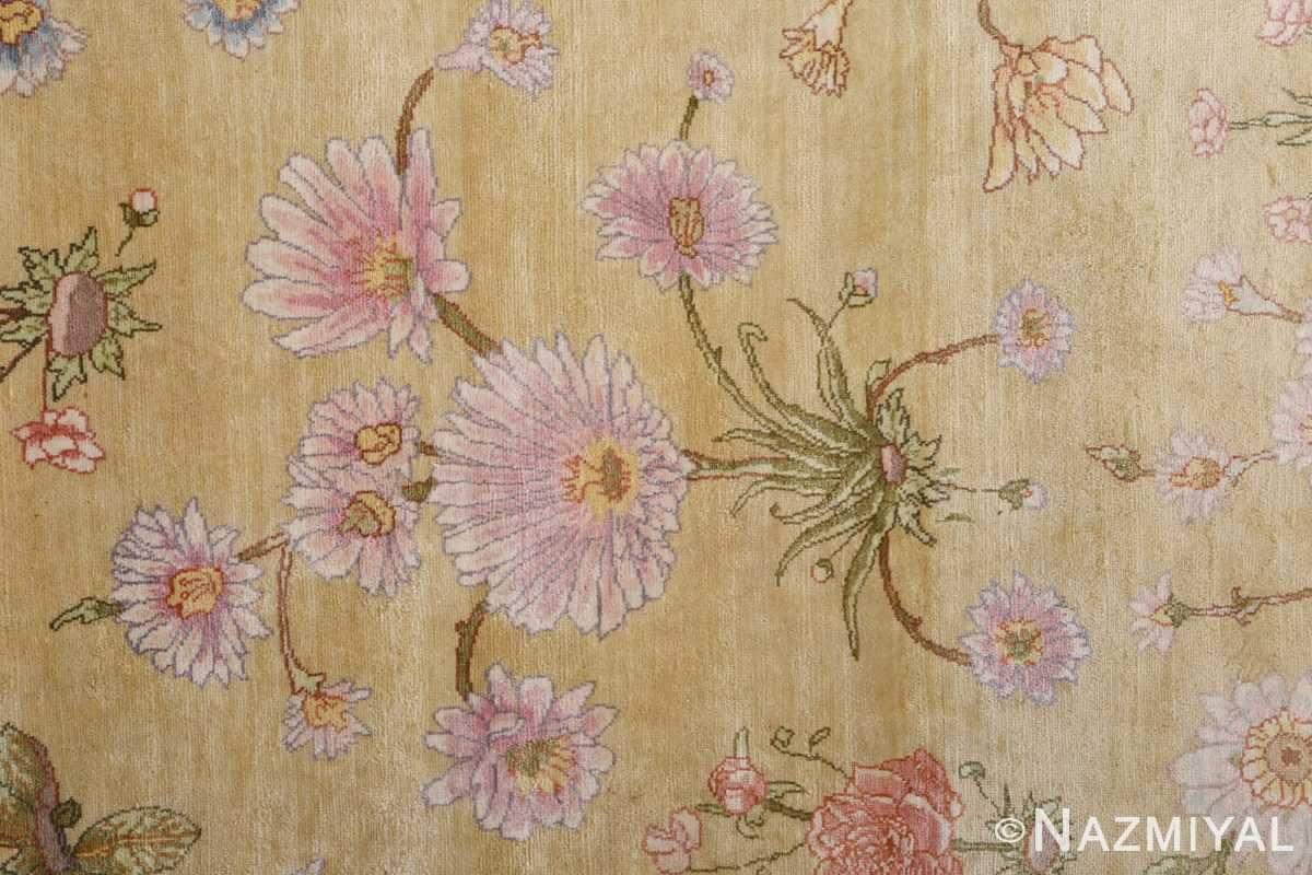 silk shahsavarpour design vintage tabriz persian rug 51162 gold Nazmiyal