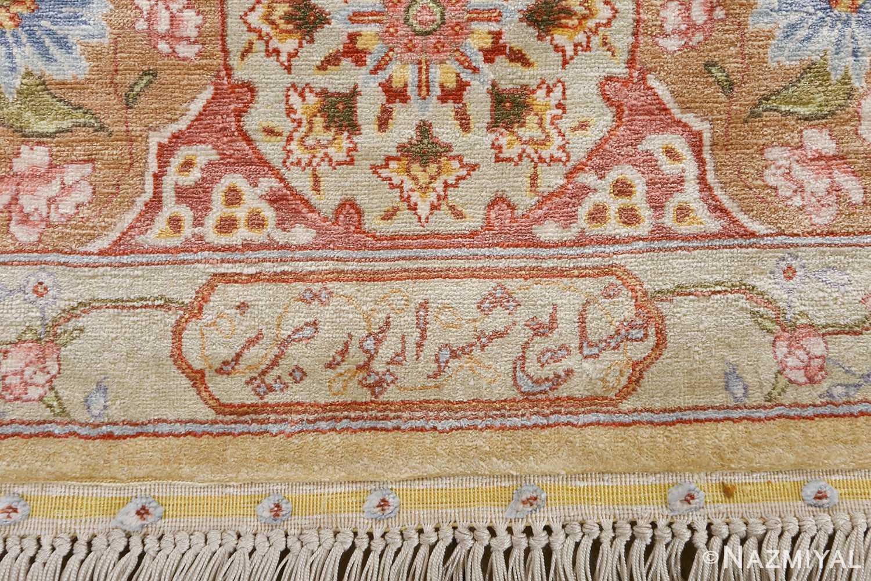 silk shahsavarpour design vintage tabriz persian rug 51162 signature Nazmiyal