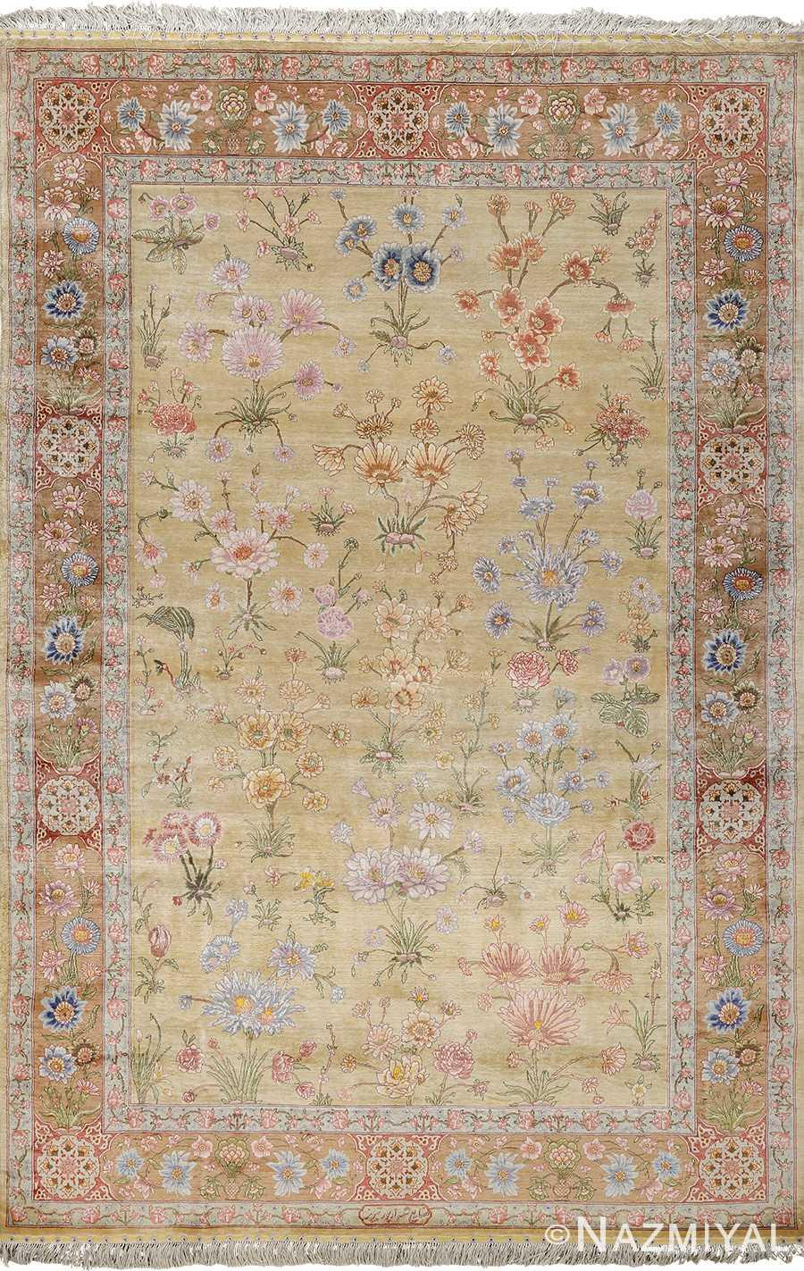 silk shahsavarpour design vintage tabriz persian rug 51162 Nazmiyal