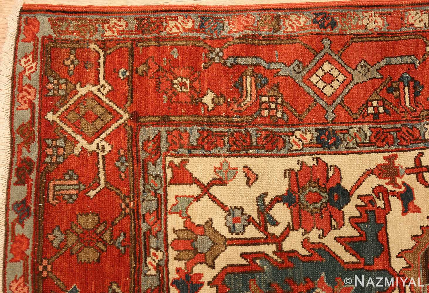 square small size antique serapi persian rug 49355 corner Nazmiyal