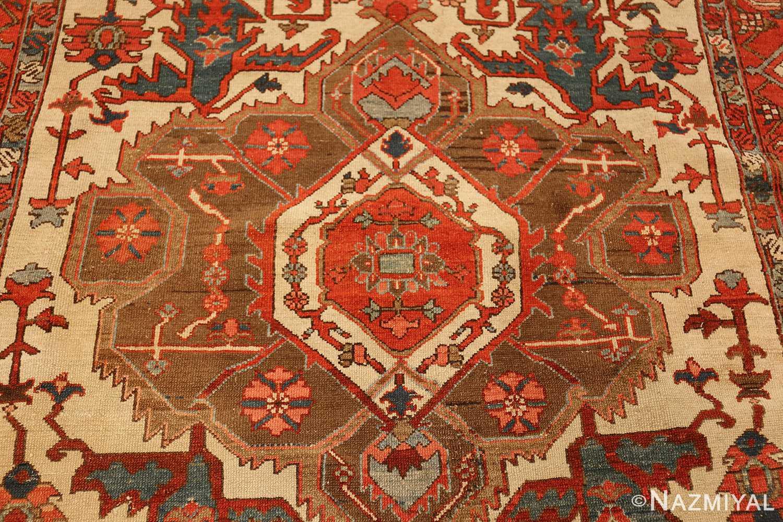 roomsize ivory antique serapi persian rug 49353 weave Nazmiyal