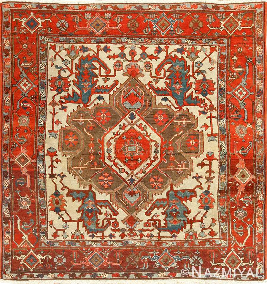 square small size antique serapi persian rug 49355 Nazmiyal
