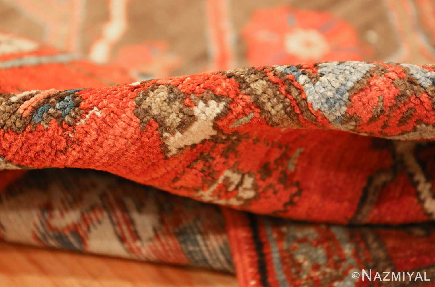 square small size antique serapi persian rug 49355 pile Nazmiyal