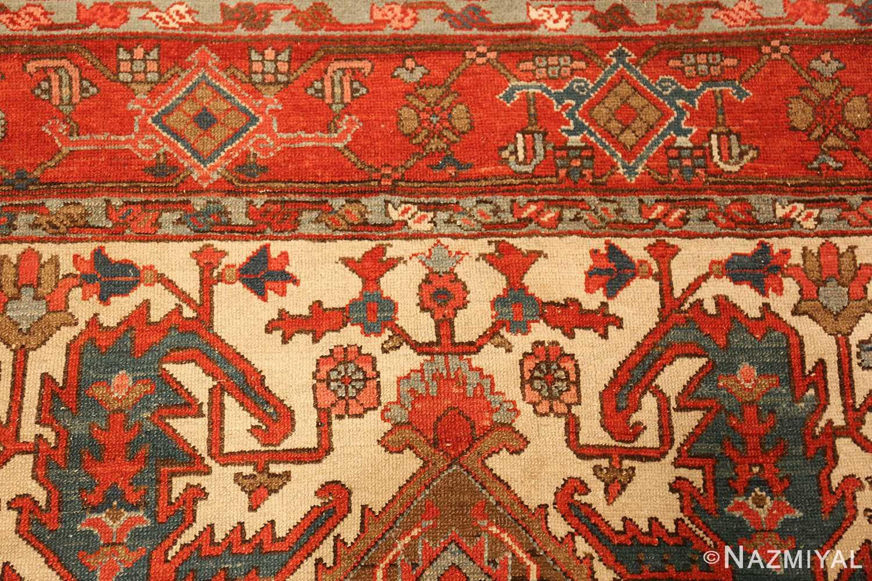 square small size antique serapi persian rug 49355 top Nazmiyal