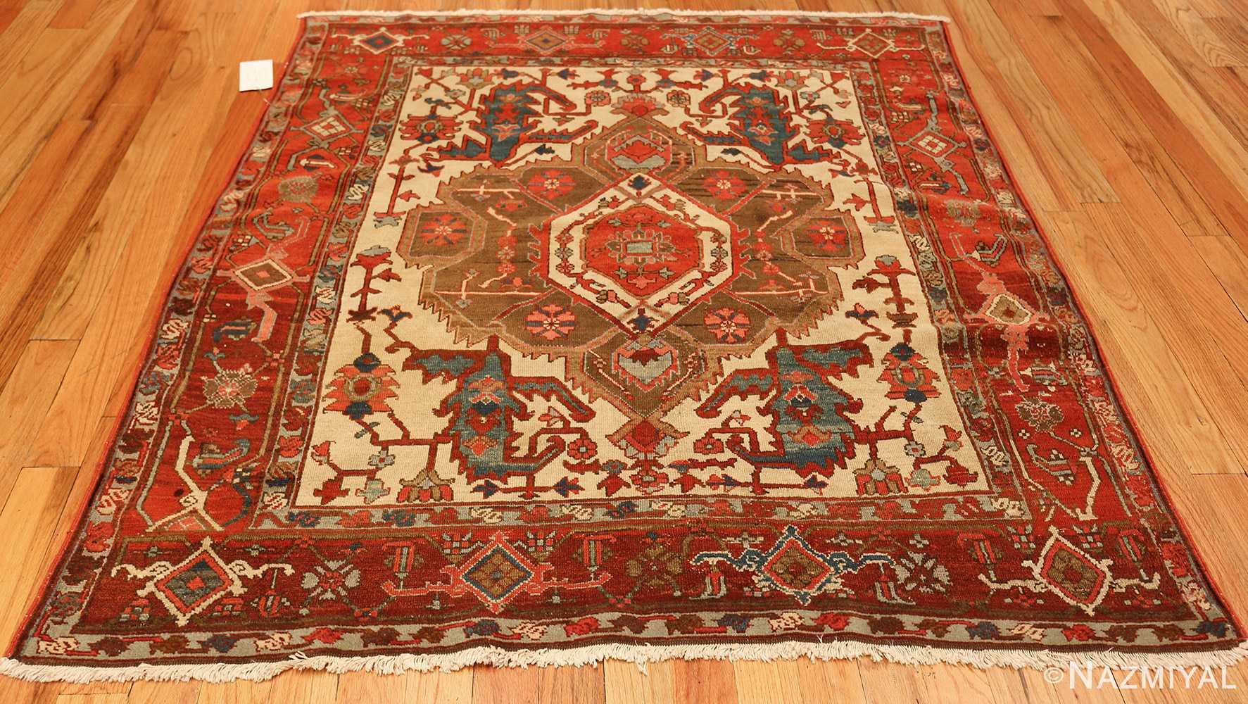 square small size antique serapi persian rug 49355 whole Nazmiyal