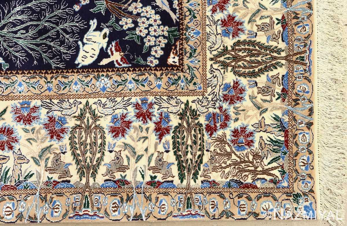 tree of life design vintage nain persian rug 51156 corner Nazmiyal